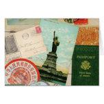 modern vintage travel collage note card