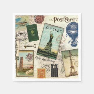 modern vintage travel collage paper serviettes