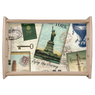 modern vintage travel collage serving tray
