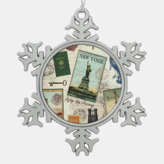 modern vintage travel collage snowflake pewter christmas ornament