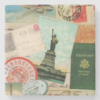 modern vintage travel collage stone beverage coaster
