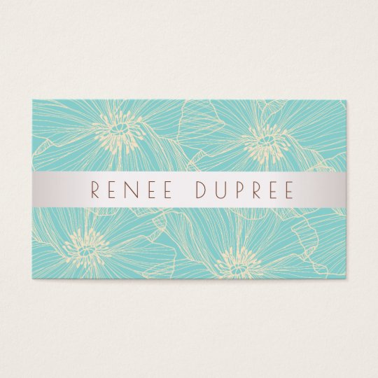 Modern Vintage Turquoise Floral Beauty Salon Business Card