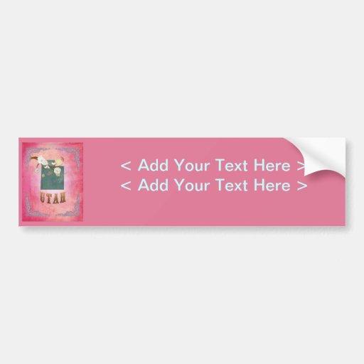 Modern Vintage Utah State Map- Candy Pink Bumper Sticker