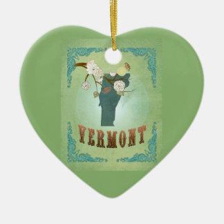 Modern Vintage Vermont State Map – Sage Green Ceramic Heart Decoration