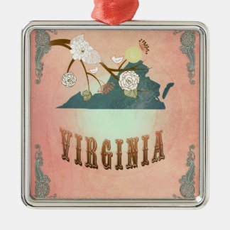Modern Vintage Virginia State Map- Pastel Peach Silver-Colored Square Decoration