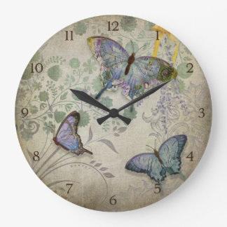 Modern Vintage Wallpaper Floral Design Butterflies Large Clock