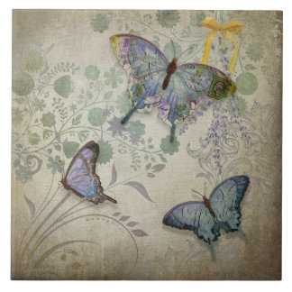 Modern Vintage Wallpaper Floral Design Butterflies Large Square Tile