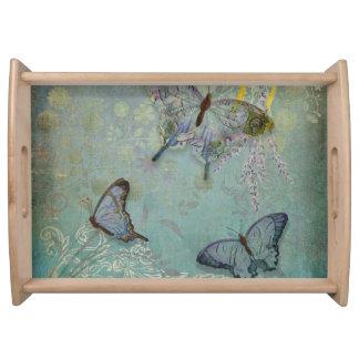 Modern Vintage Wallpaper Floral Design Butterflies Serving Tray