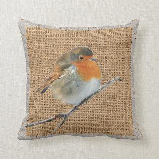 Modern Vintage watercolor Robin Bird burlap Cushion