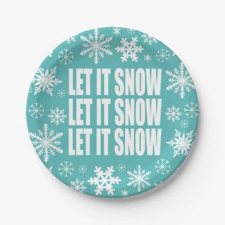 modern vintage whimsical snowflakes paper plate