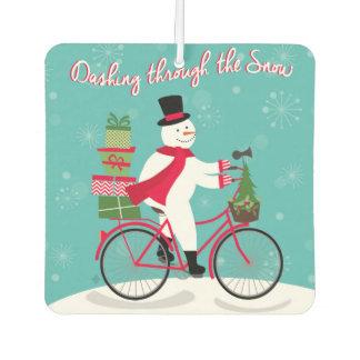 modern vintage whimsical snowman on bike
