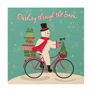 modern vintage whimsical snowman on bike wood print