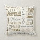 Modern Vintage White Christmas pillow Throw Cushion
