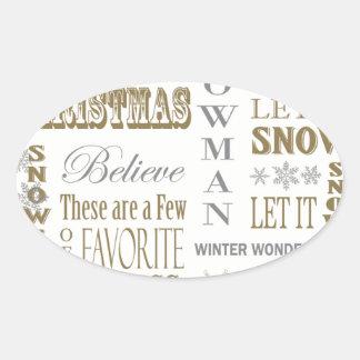 Modern Vintage White Christmas word collage Sticker