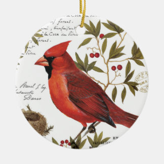 modern vintage winter cardinal christmas ornament