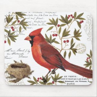 modern vintage winter cardinal mouse pads