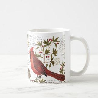 modern vintage winter cardinal coffee mugs