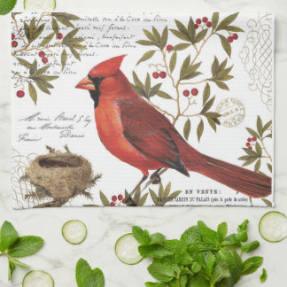 modern vintage winter cardinal tea towel