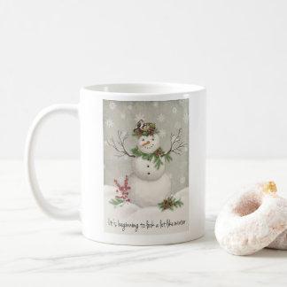 modern vintage winter garden snowman coffee mug