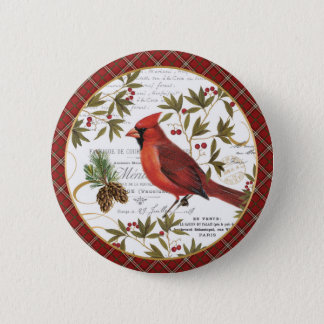 modern vintage winter woodland cardinal 6 cm round badge