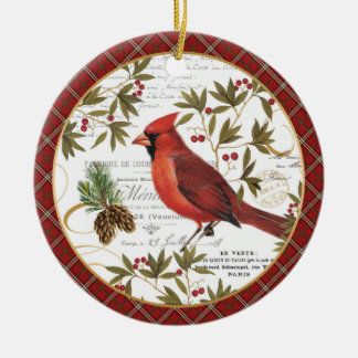 modern vintage winter woodland cardinal christmas ornament