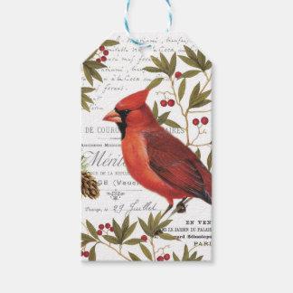 modern vintage winter woodland cardinal gift tags
