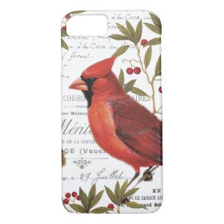 modern vintage winter woodland cardinal iPhone 7 case