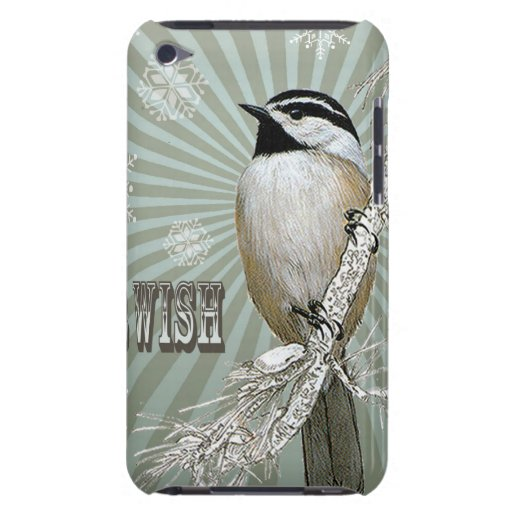 modern vintage winter woodland chickadee barely there iPod cover