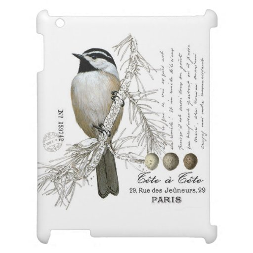 modern vintage winter woodland chickadee cover for the iPad 2 3 4