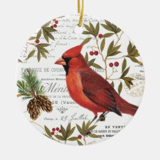 Modern vintage woodland cardinal christmas ornament