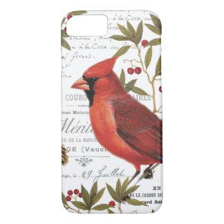 Modern vintage woodland cardinal iPhone 7 case