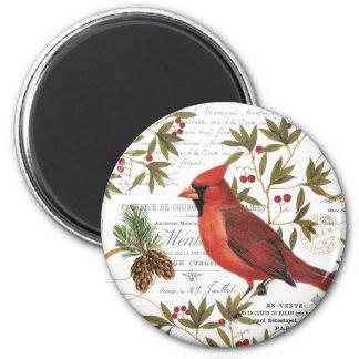 Modern vintage woodland cardinal magnet