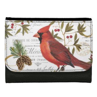 Modern vintage woodland cardinal women's wallet
