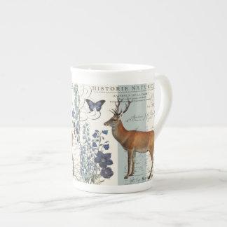 modern vintage woodland deer porcelain mugs