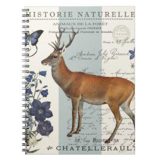 modern vintage woodland deer spiral notebook