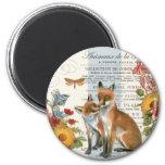 Modern vintage woodland fox 6 cm round magnet