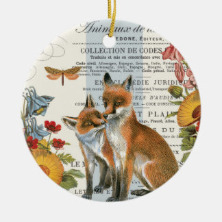 Modern vintage woodland fox christmas ornament
