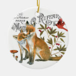 modern vintage woodland fox Double-Sided ceramic round christmas ornament