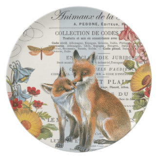 Modern vintage woodland fox dinner plates