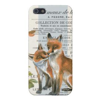 Modern vintage woodland fox iPhone 5 case