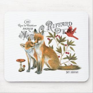 modern vintage woodland fox mouse mat