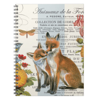 Modern vintage woodland fox notebooks