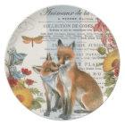 Modern vintage woodland fox plate