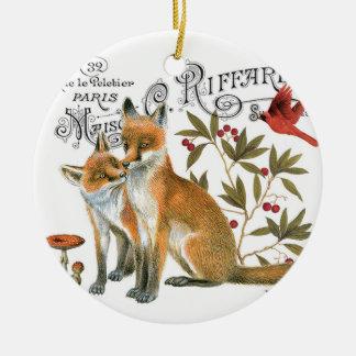 modern vintage woodland fox round ceramic decoration