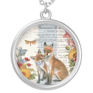 Modern vintage woodland fox silver plated necklace