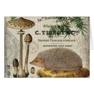 modern vintage woodland hedgehog card