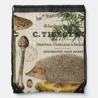 modern vintage woodland hedgehog drawstring bag
