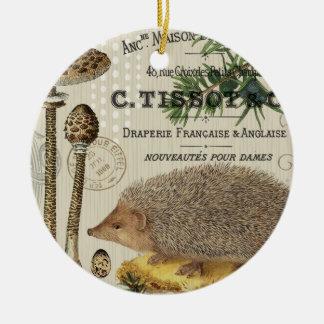 modern vintage woodland hedgehog round ceramic decoration