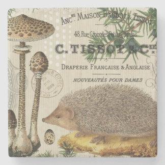 modern vintage woodland hedgehog stone coaster
