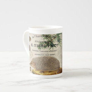 modern vintage woodland hedgehog tea cup